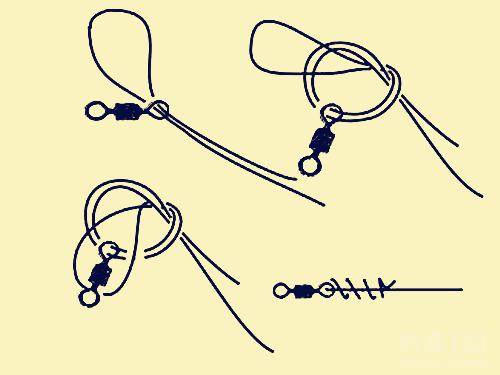 2.钩柄处线结的打法 笔者绑钩时钩柄处的线圈通常要绕道6~8圈左右,圈数多或少都不容易绑牢鱼钩,绑好的鱼钩子线应在鱼钩内侧(有的钓钩有线槽,很容易观察),以免刺鱼时因为力量传导的角度不正而刺不牢,从而造成脱钩跑鱼。 在垂钓过程中也要时常检查子线、钩柄线结处、八字环处线结是否出现磨损,如若出现损坏应及时更换,避免在中鱼时切子线造成跑鱼,留下遗憾。