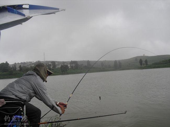 用鲤竿4.5米,主线3.0,子线1.5,综合鲫鱼饵,开始了作钓